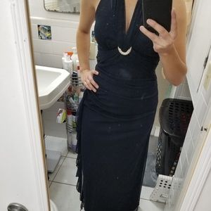 Betsy & Adam Dresses - Navy blue evening gown.